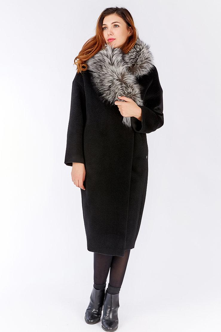 драповое пальто с меховым воротником купить