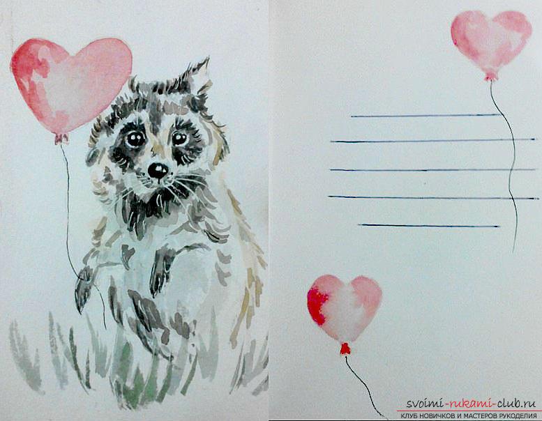 Как нарисовать на открытке животного, февраля