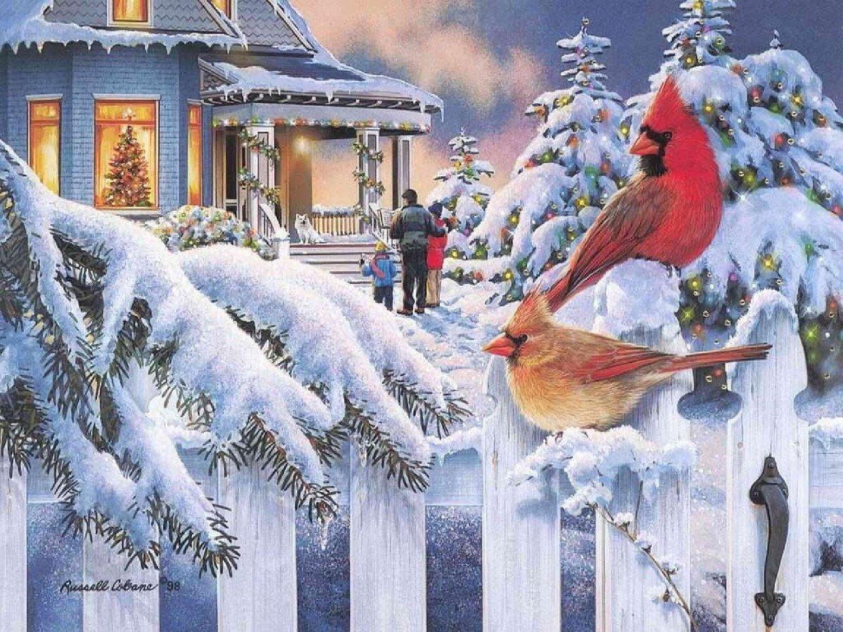Русский язык, зимняя открытка на новый год