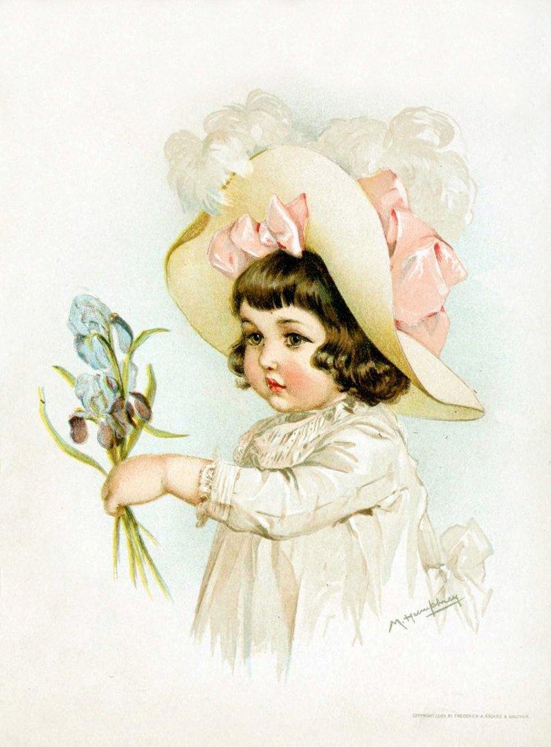 Девочка на старинной открытке
