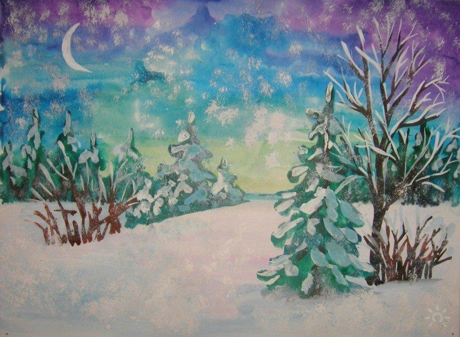рисунок зимнего пейзажа гуашью вполне можете