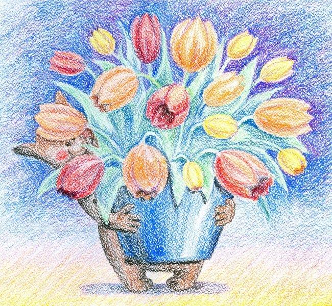 Днем, поздравительная открытка к любому празднику восковыми мелками