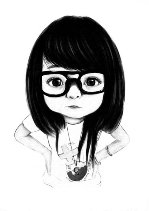 cartoon girl with glasses