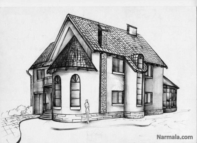 Картинка дом нарисованный простым карандашом