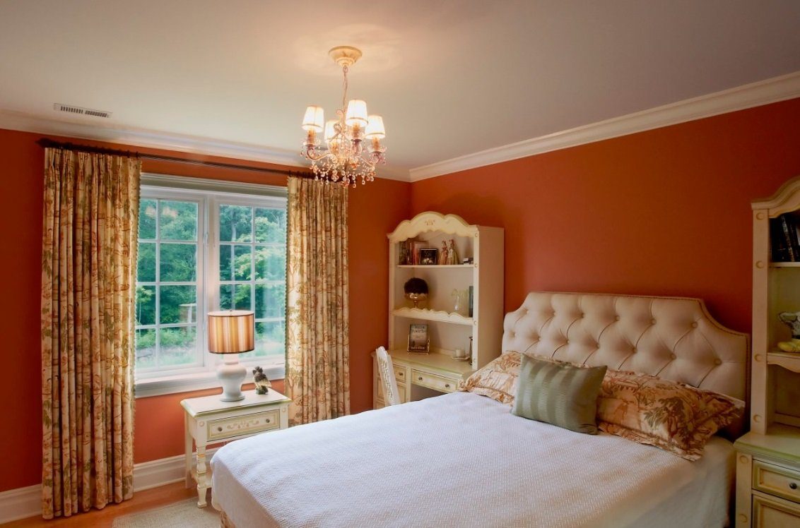 Burnt Orange Paint Bedroom Traditional With S Room Remov