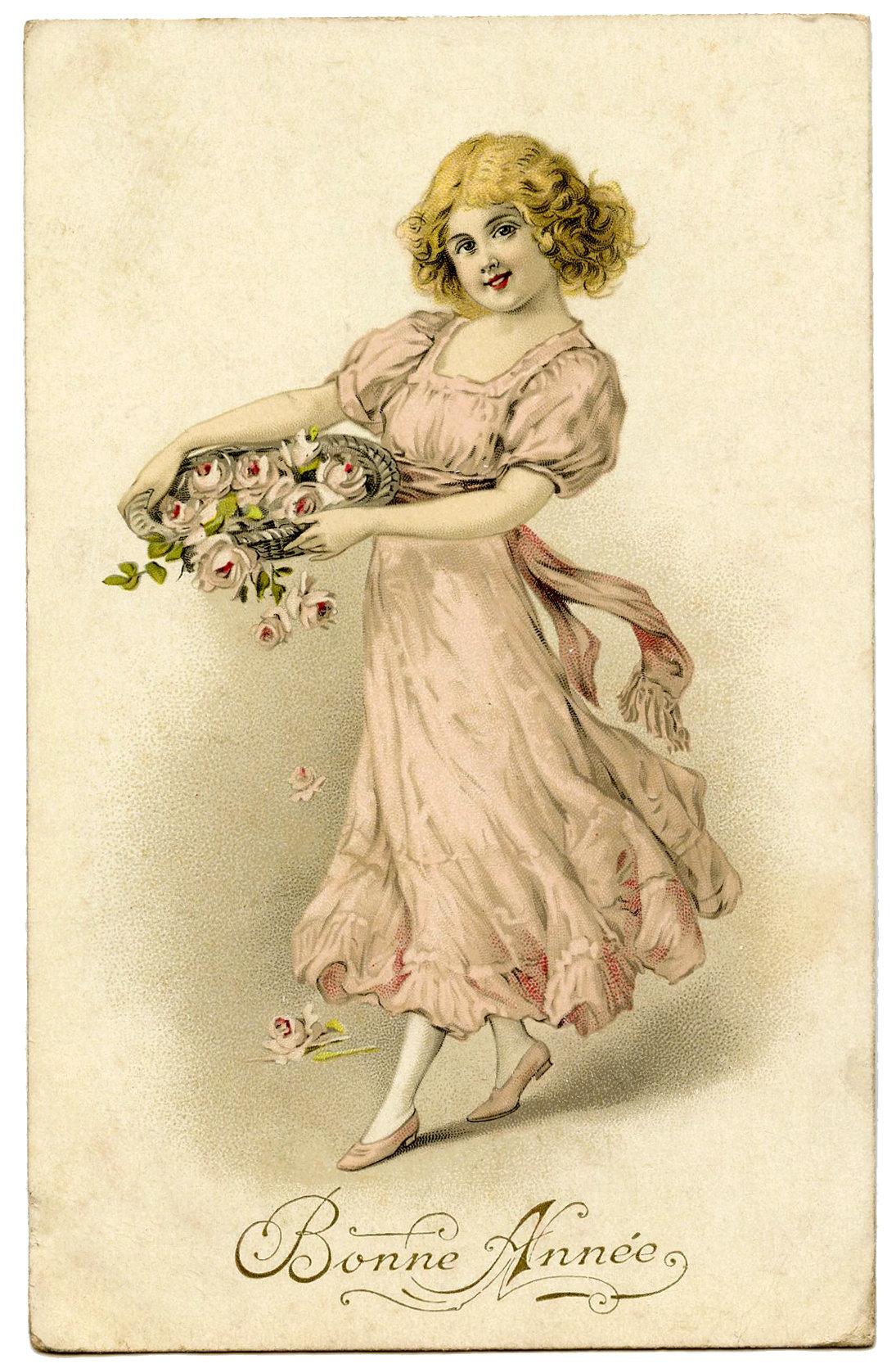 Винтажные открытки девушка с цветами