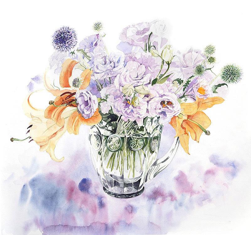 букеты цветов нежные рисунки стали второй