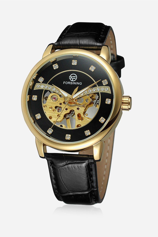 Forsining прозрачные открытые работы сталь сетка группа скелет мужские креативные часы верхней бренд класса люкс автоматические часы.