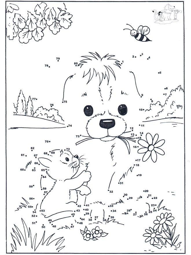 картинка по точкам собачка пешком
