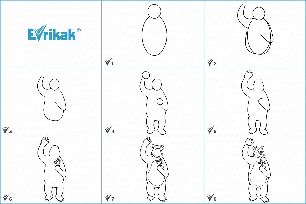 картинки как нарисовать машу и медведя поэтапно фото где акмы