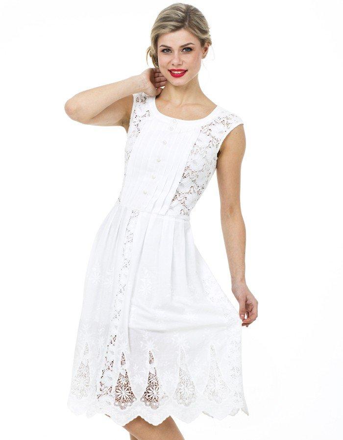 8e3e13d8e6b Белое платье с кружевными вставками без рукавов » — карточка ...