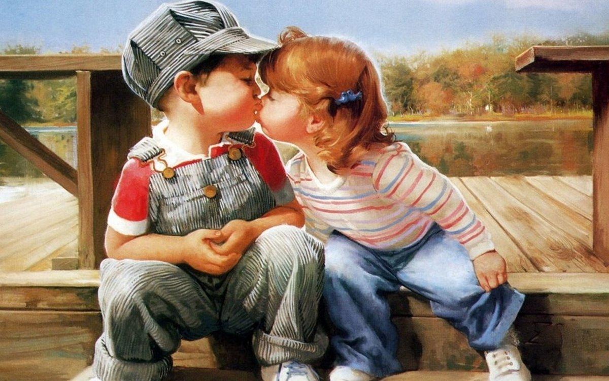 Открытки поцелуй друга, открытка