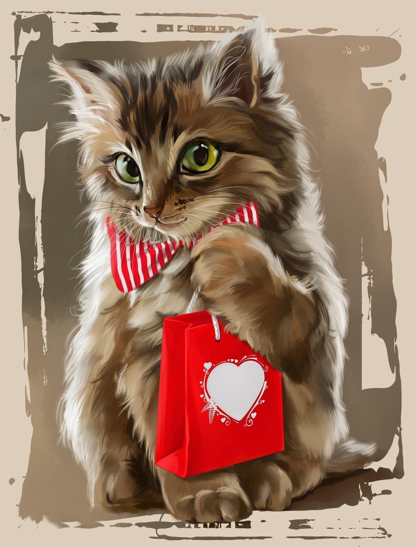 Открытки ко дню рождения кошками, картинки