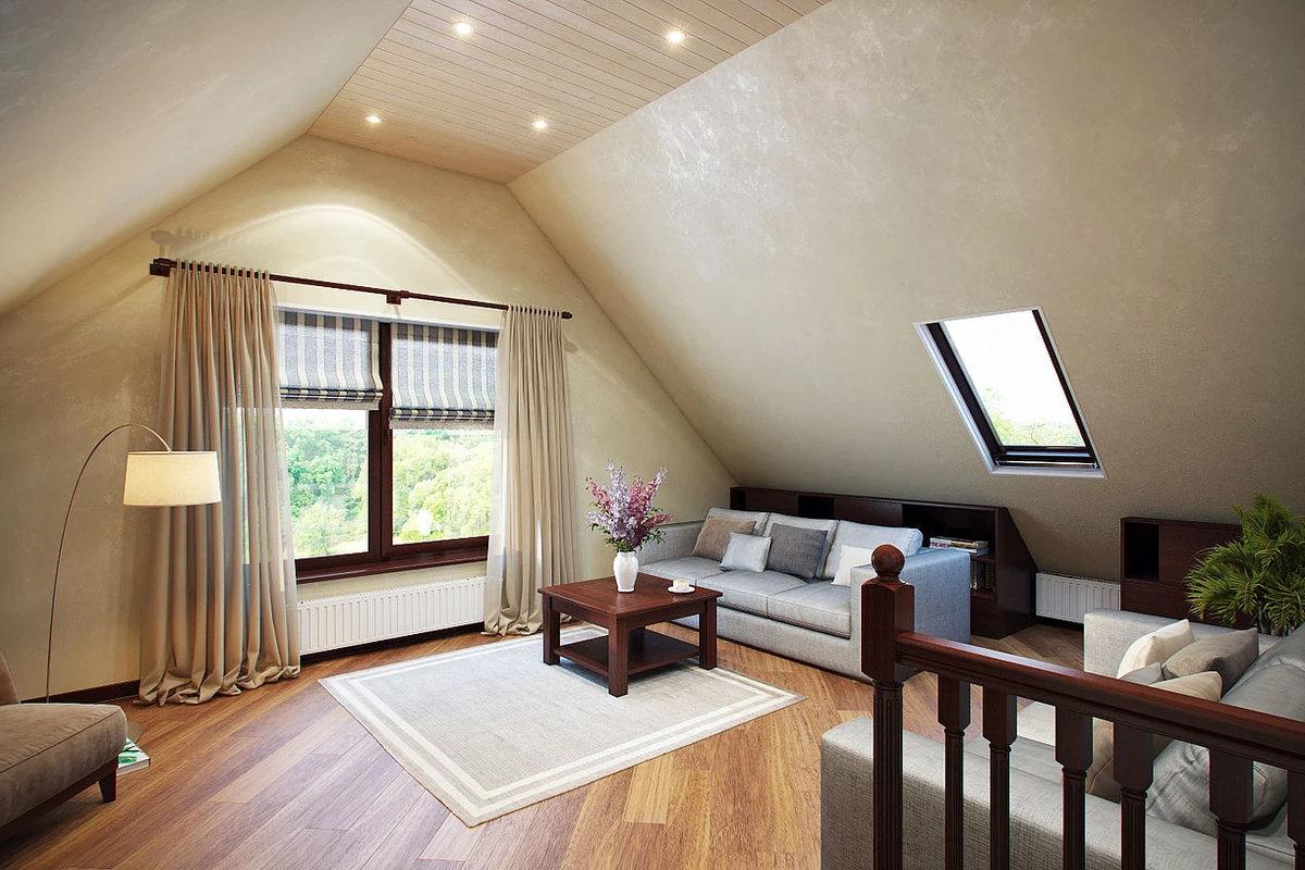 фото вариантов отделки потолка спальни в мансарде