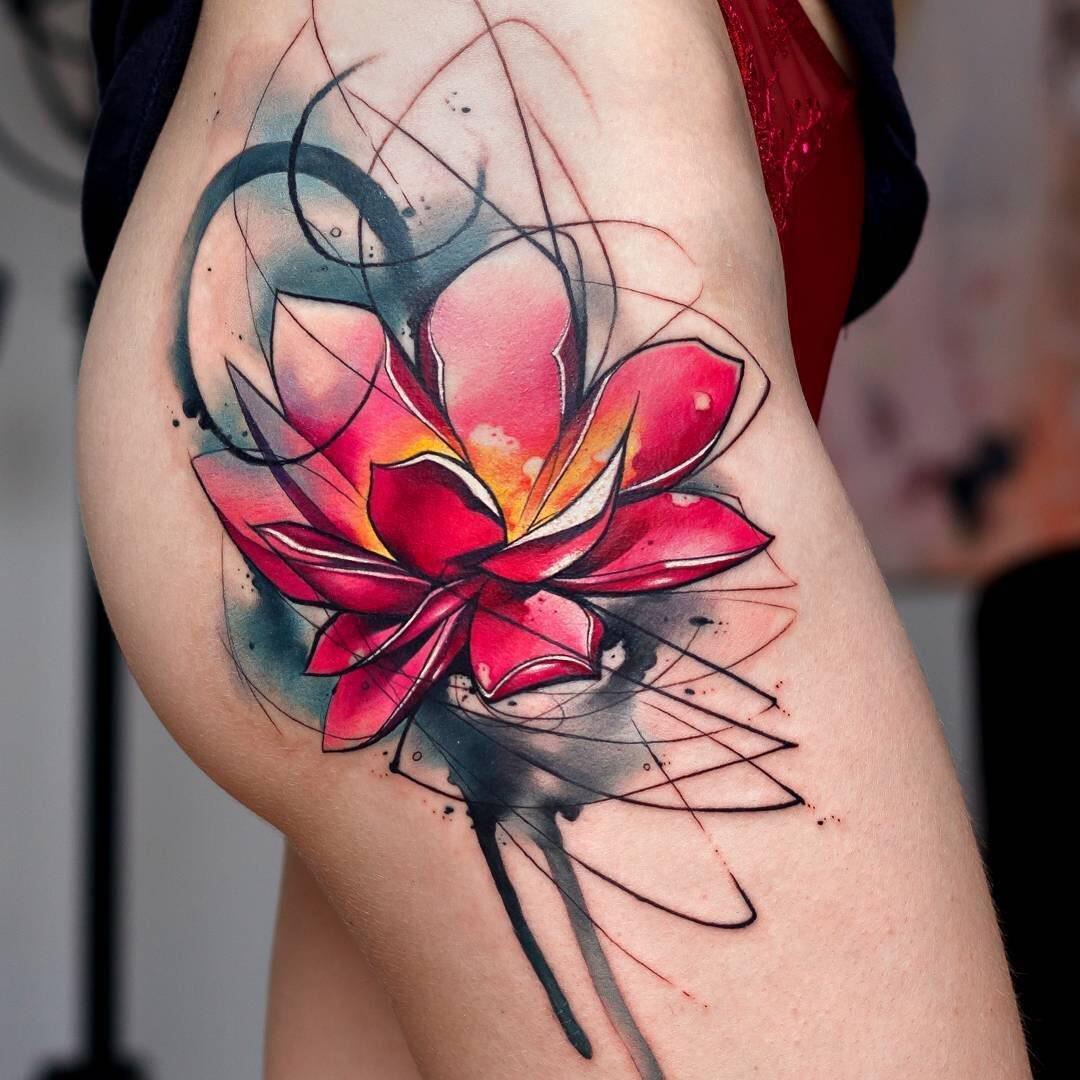 watercolor tattoo flower - HD1080×1080