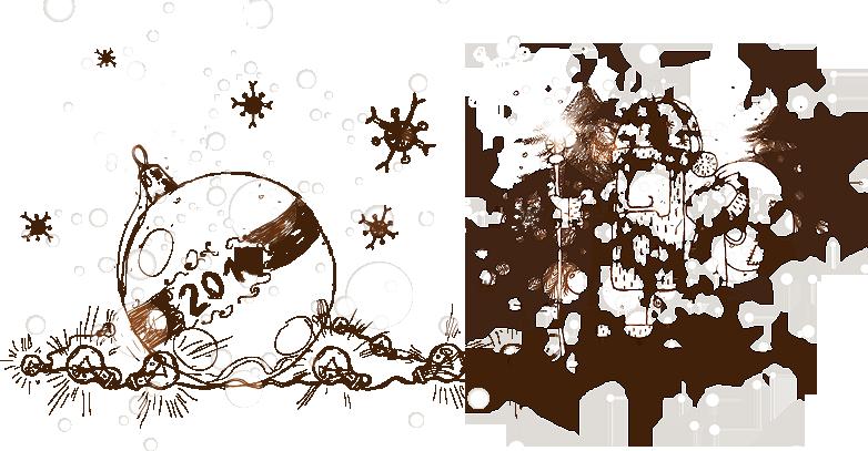 Графический рисунок с поздравлением к новому году