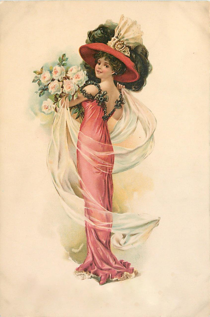 Нарисовать открытку, старинные открытки дамы