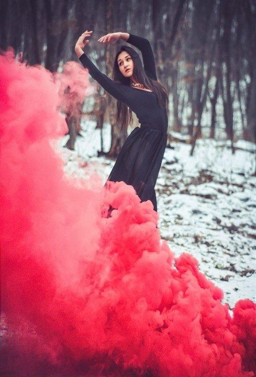 сочетание фото с цветным дымом идеи полученный