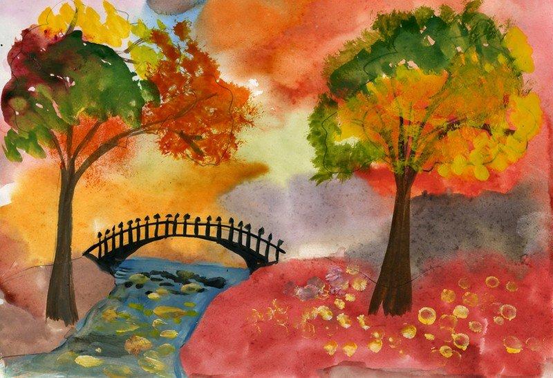 Картинки рисованные осень для детей, картинках днем