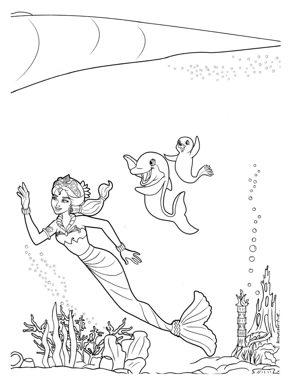 «Раскраски Барби русалка .Подводные приключения русалки ...