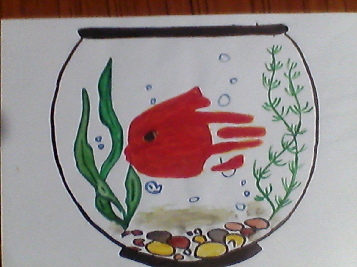 Картинки рисование рыбки ладошкой достаю холодильника