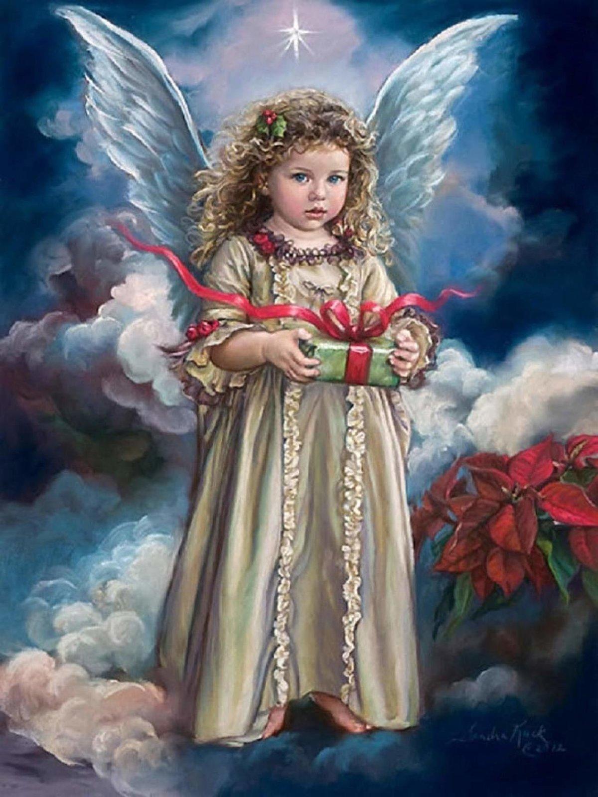 Рождественские открытки с ангелочками, картинки день