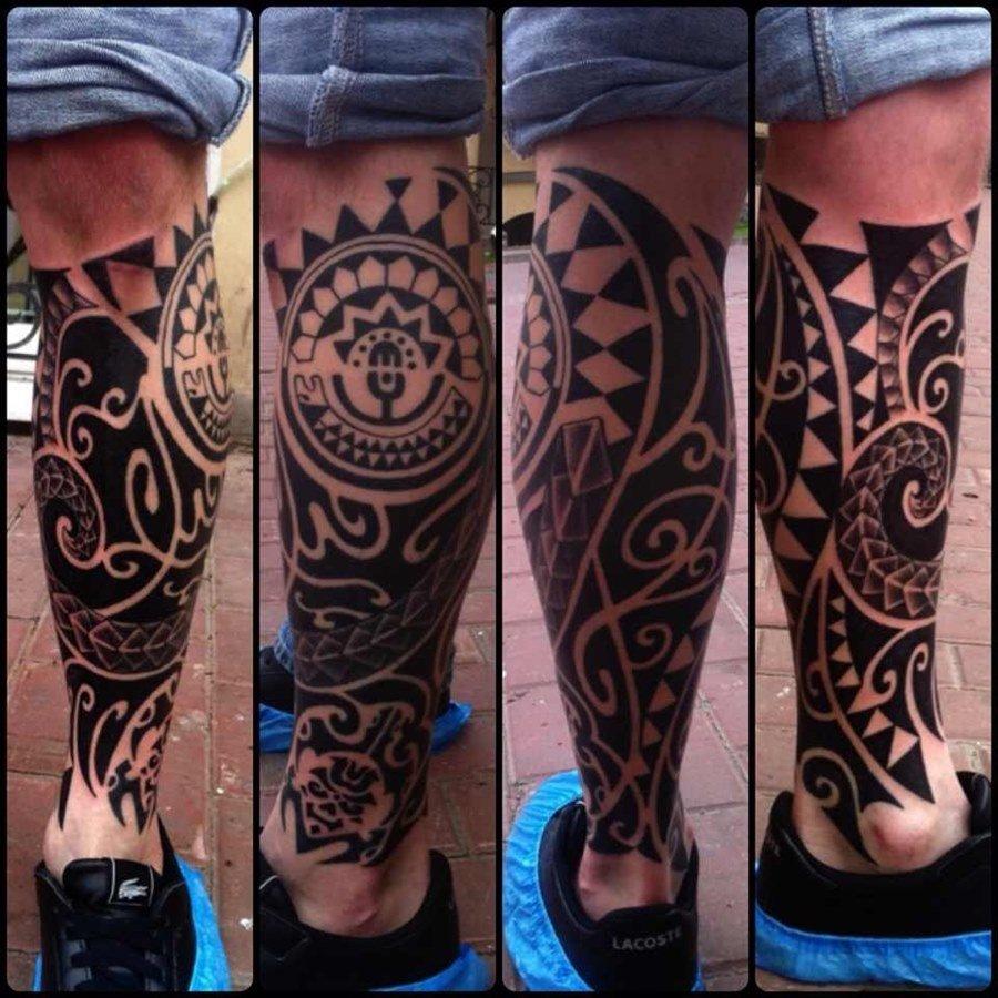 Полинезия эскизы тату фото на ноге