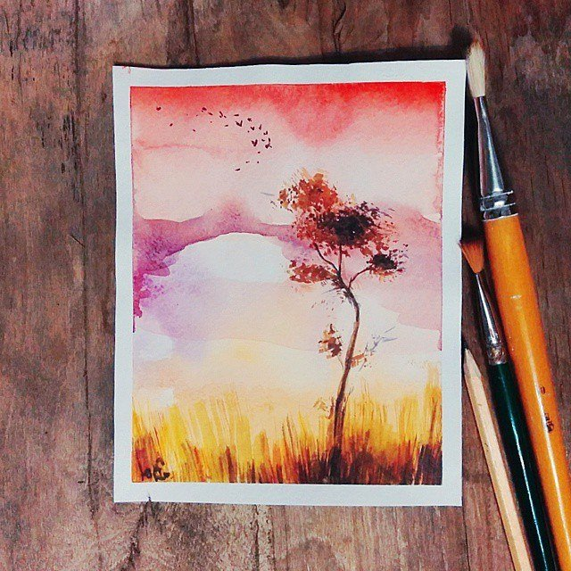 Открытки акварельными карандашами, открытки