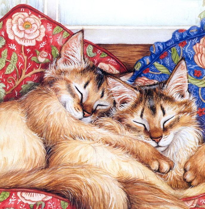 Анимация спасибо, открытка с двумя котятами