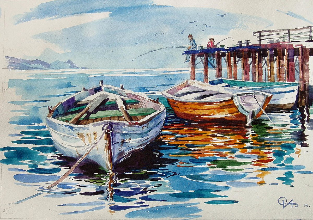 Надписью, картинки с лодками маслом