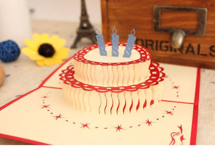 Открытки 3д своими руками торт