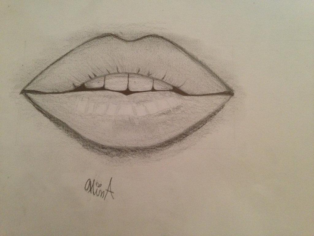 Картинки в карандашом губы