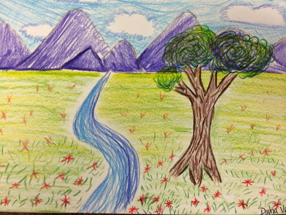 Детские рисунки природы картинки