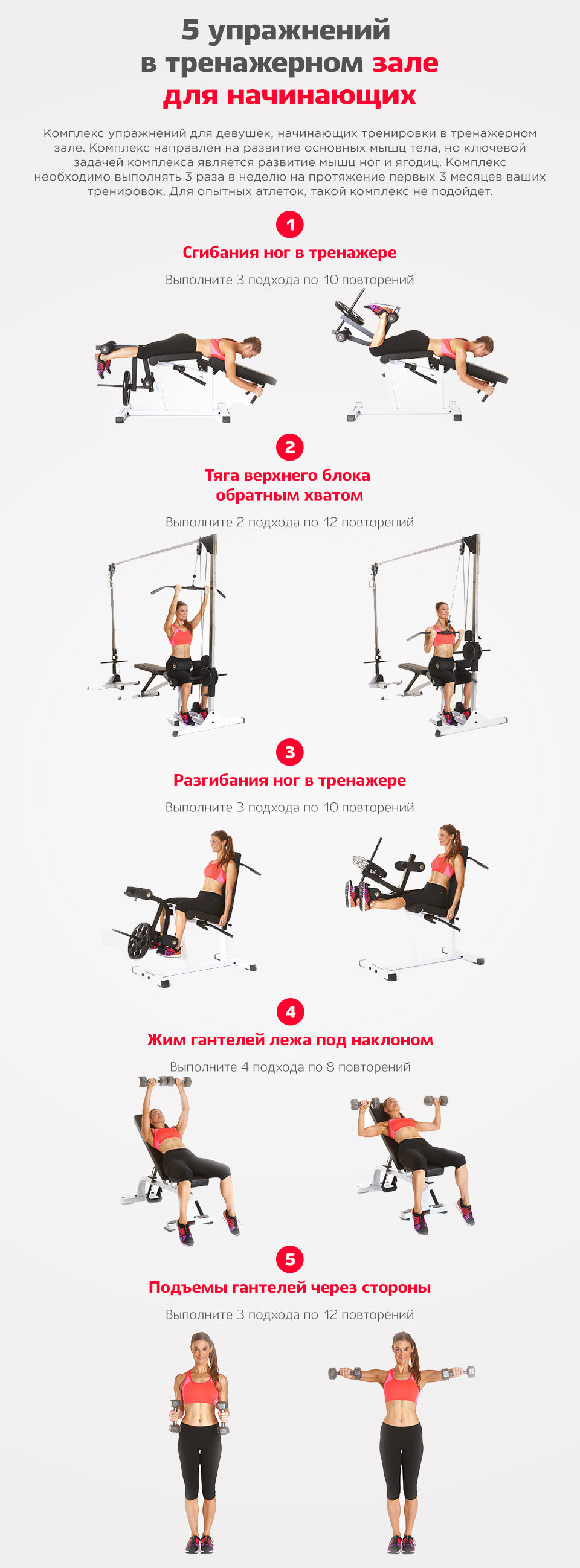 Комплекс упражнений тренажерный зал в картинках