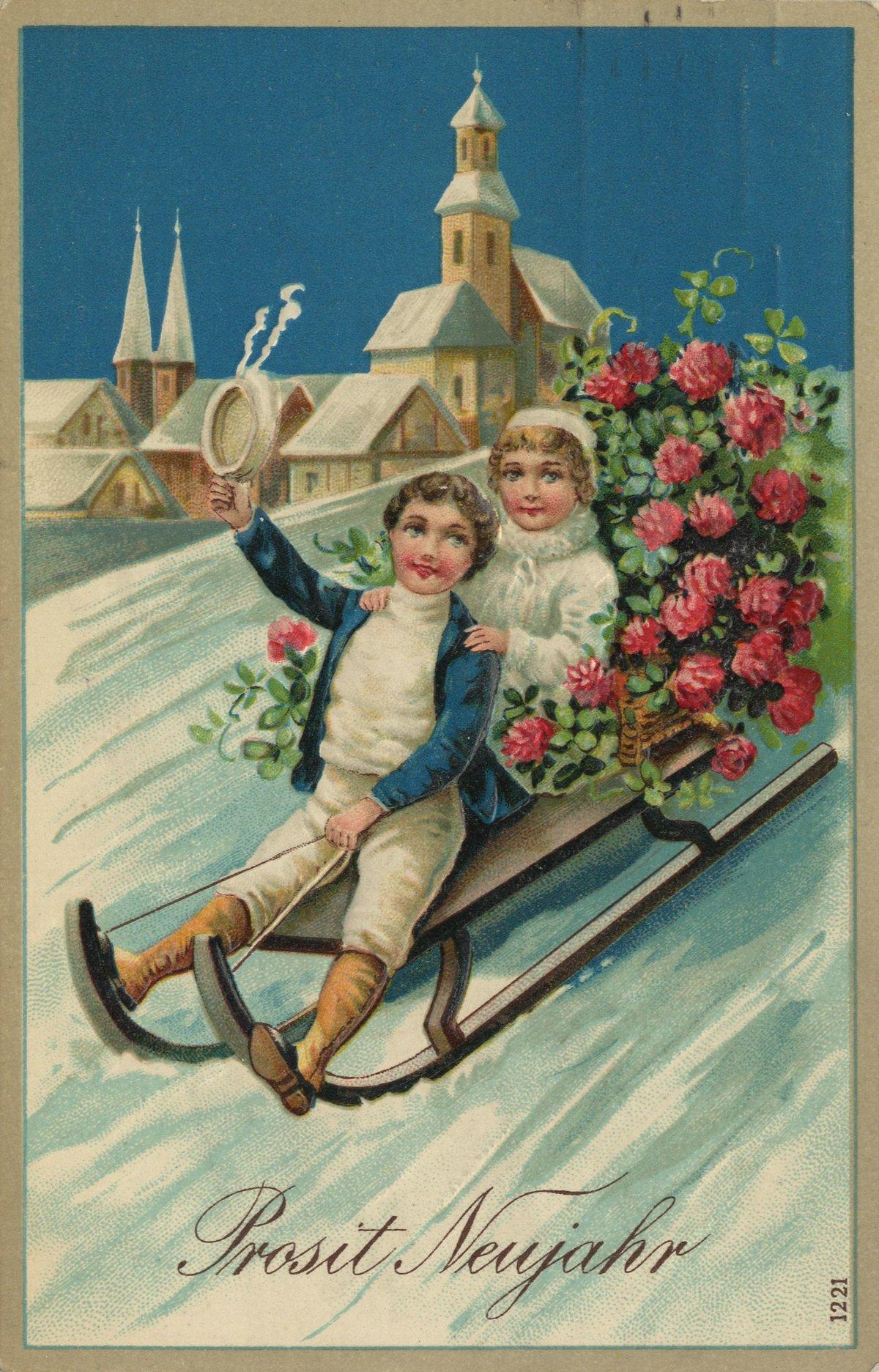 Новогодние открытки ретро картинки