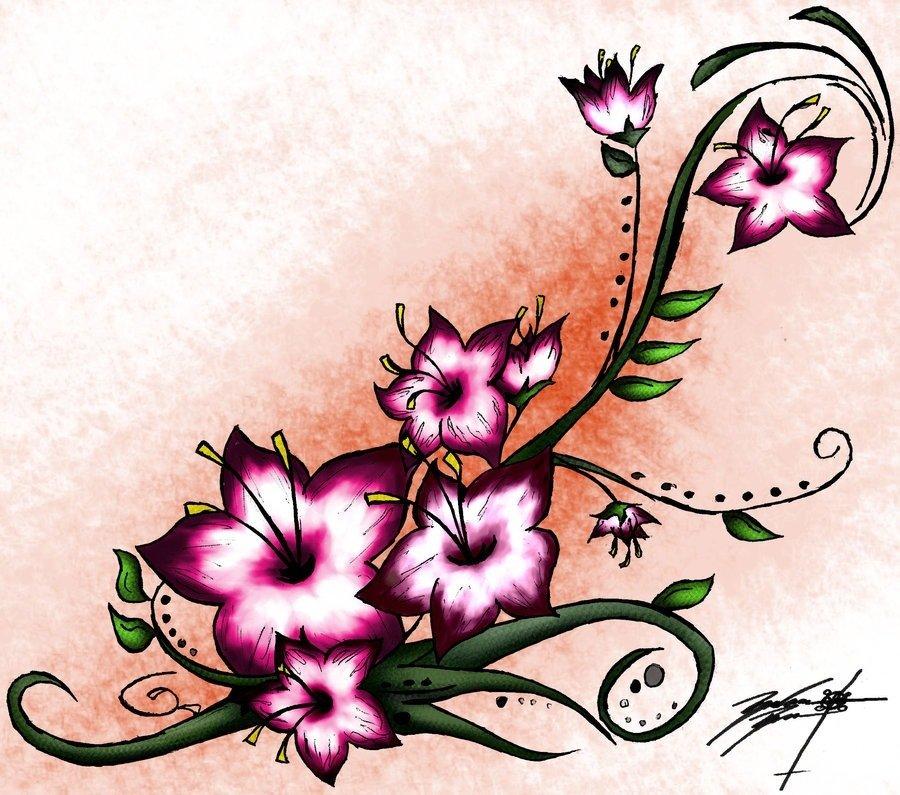 длинный цветок рисунок разделить рабочую