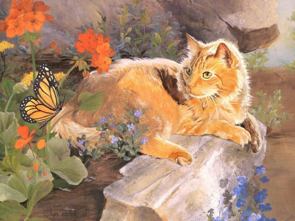 Картинки днем, картинки с рисованными кошками