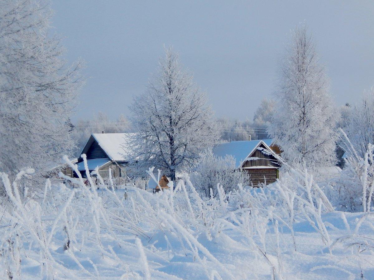 Картинки зимы красивые село