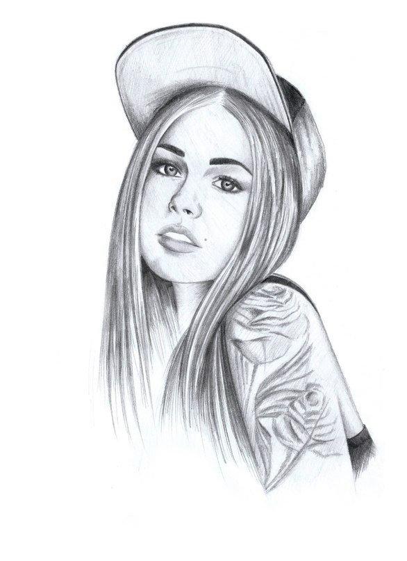 Крутые картинки девочек нарисованные карандашом