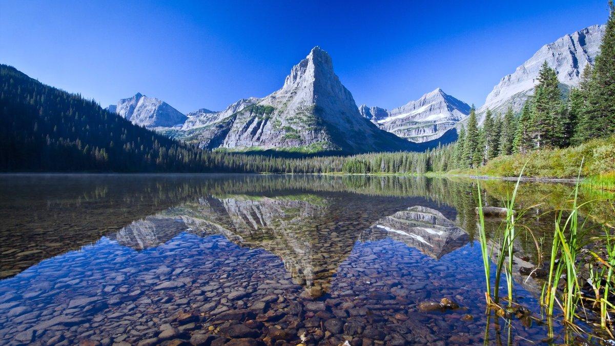 Картинка горы и озеро