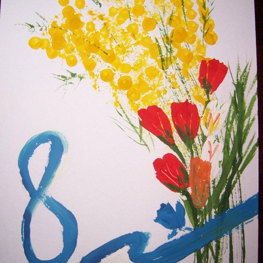 Как нарисовать открытку на 8 марта ребенку, надписью