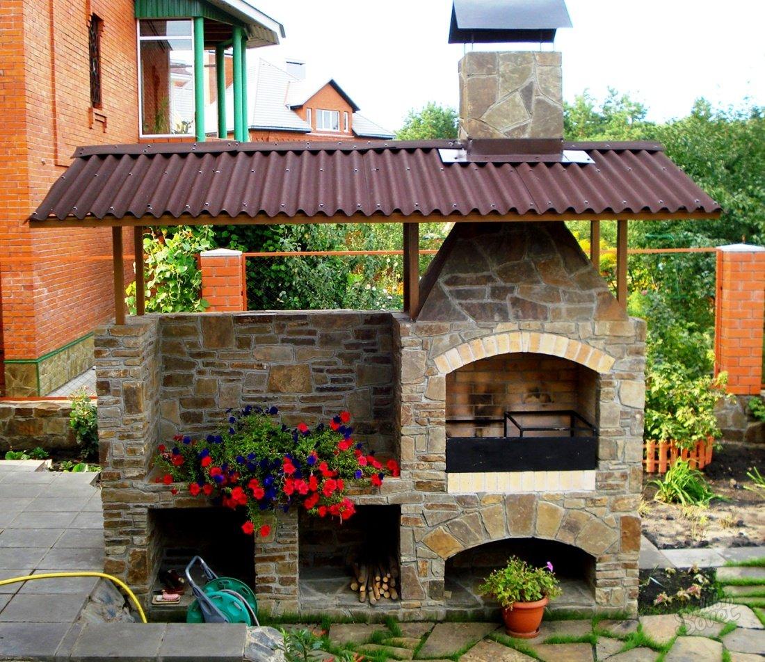 садовое барбекю из кирпича фото