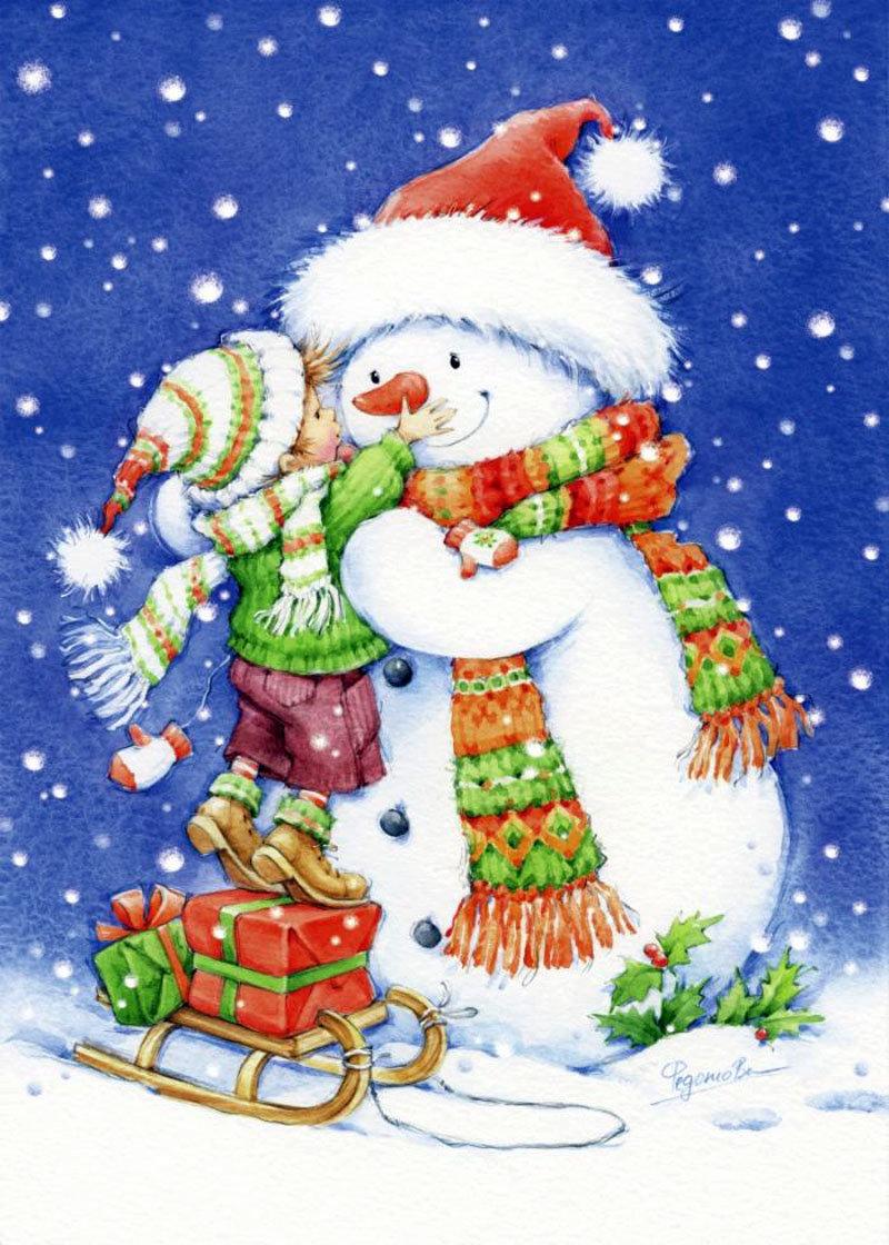 Веселые новогодние открытки для детей