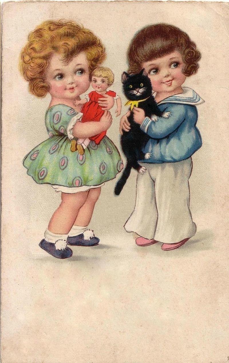 это открытки старые с детьми знали