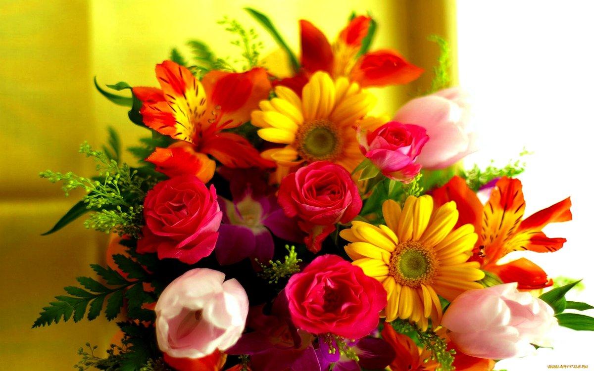 Открытка для мамы букет цветов