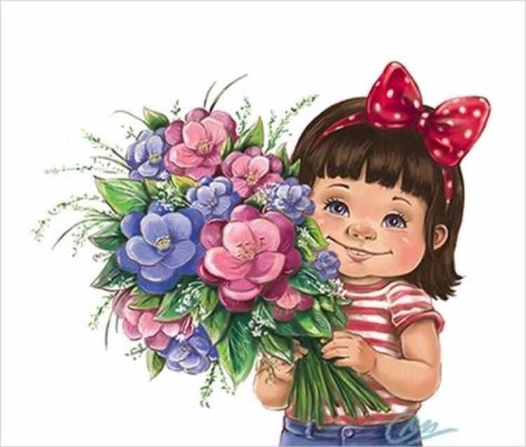 Надписью, открытки с девочками с цветами