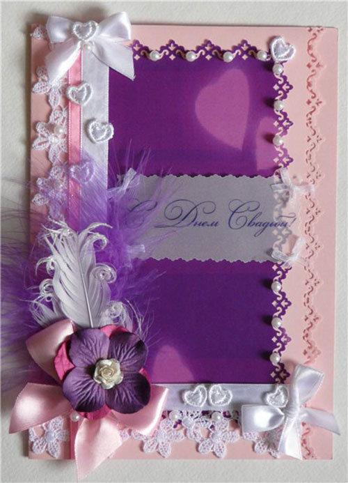 Свадебная открытка в фиолетовых тонах