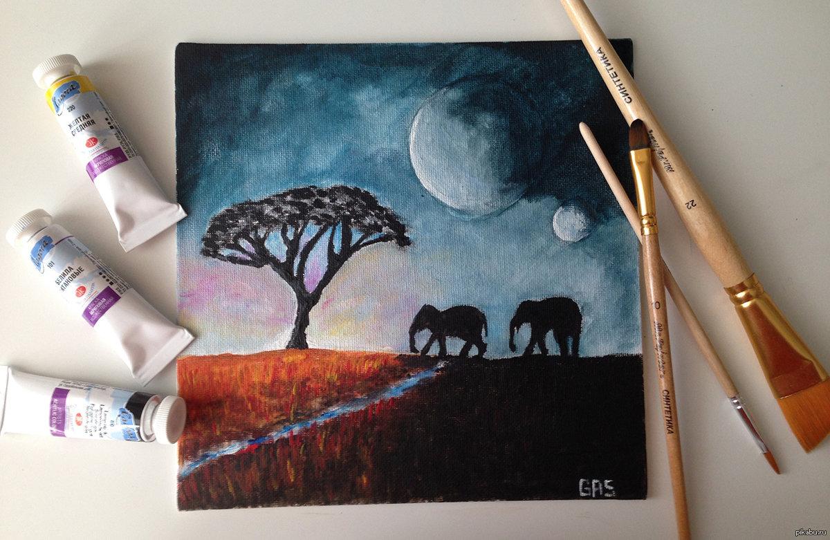 Днем рождения, рисунок красками для начинающих на бумаге