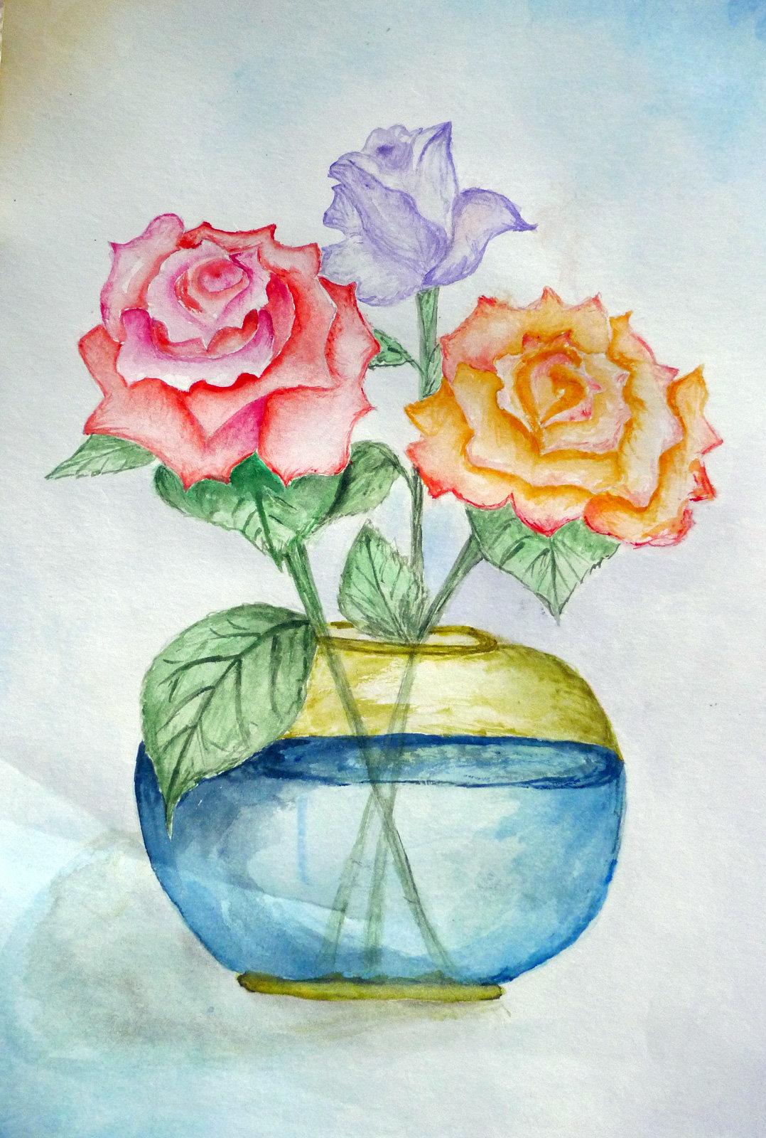 Букет из 15 роз акварелью поэтапно, цветов каллы оранж