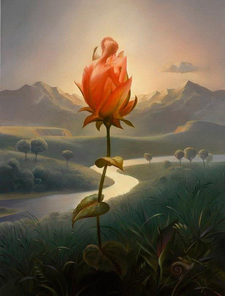 Цветы в картинках фэнтези, открытки